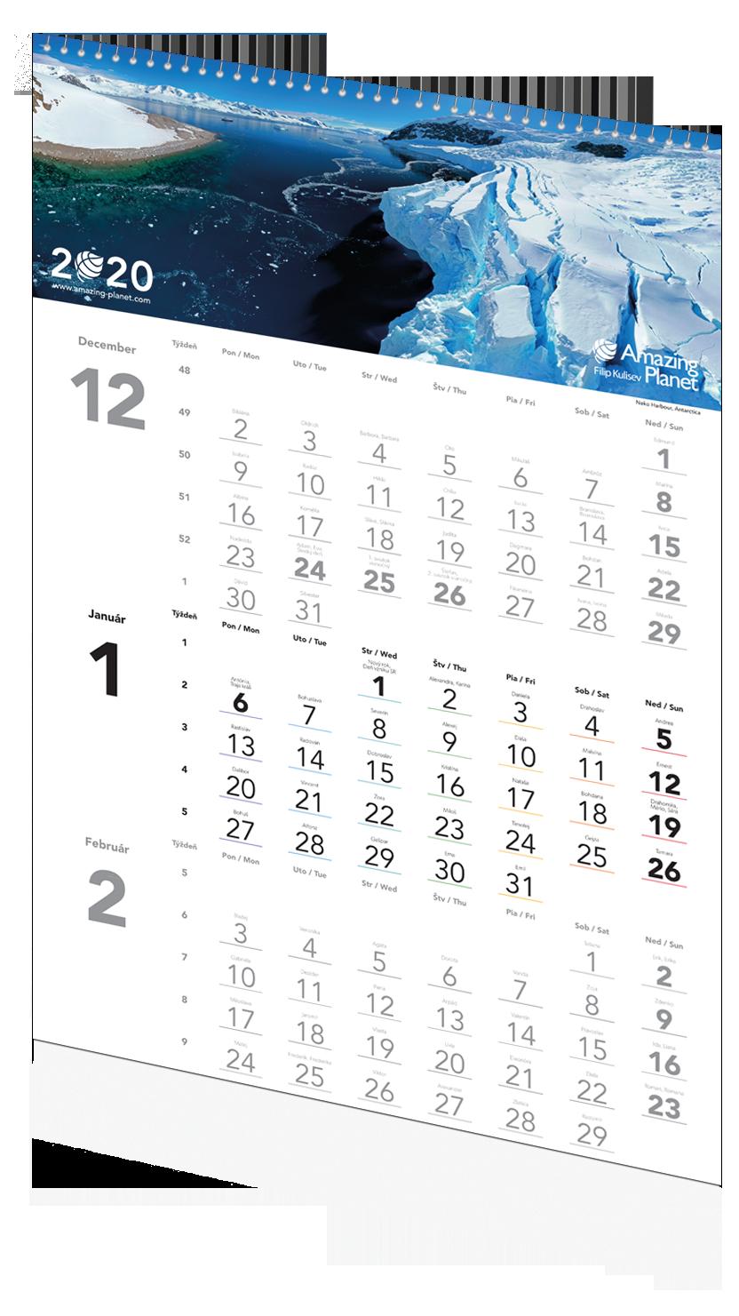 Trojmesačný kalendár Amazing Planet 2020